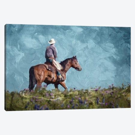Cowboy Enjoys The Outlook Canvas Print #MVI18} by Mlli Villa Canvas Art Print