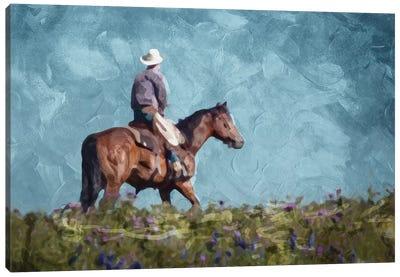 Cowboy Enjoys The Outlook Canvas Art Print