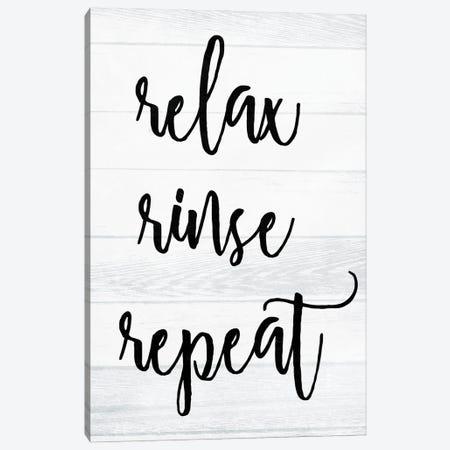 Relax Rinse Repeat White Wash Canvas Print #MVI194} by Mlli Villa Canvas Artwork