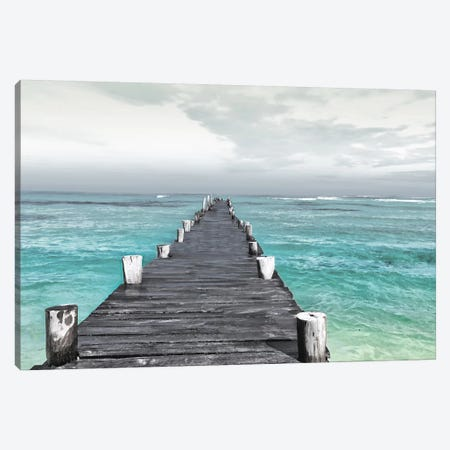 Dock At Sea Recolor Canvas Print #MVI3} by Mlli Villa Canvas Art Print