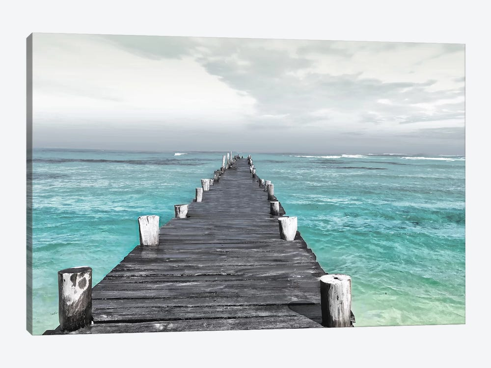 Dock At Sea Recolor by Mlli Villa 1-piece Canvas Print