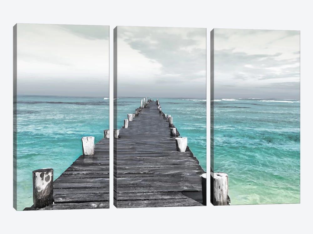 Dock At Sea Recolor by Mlli Villa 3-piece Canvas Art Print