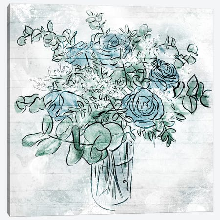 Blue Sketch Florals Canvas Print #MVI42} by Mlli Villa Canvas Artwork