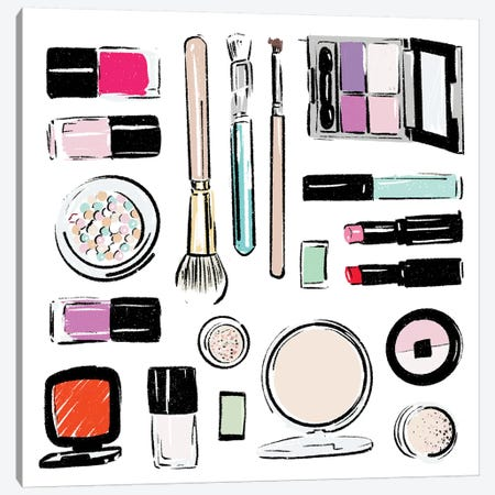 Extra Make Up Tools Canvas Print #MVI49} by Mlli Villa Canvas Wall Art