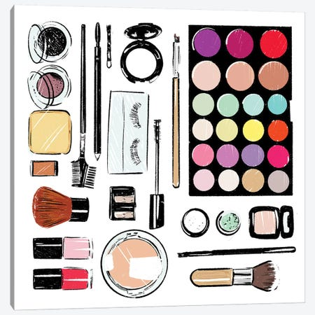 More And More Make Up Tools Canvas Print #MVI58} by Mlli Villa Canvas Art Print