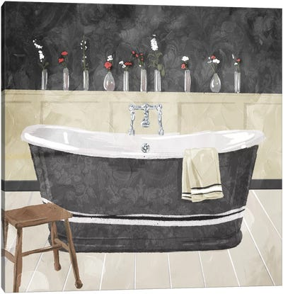 Bathroom Florals Dark Canvas Art Print