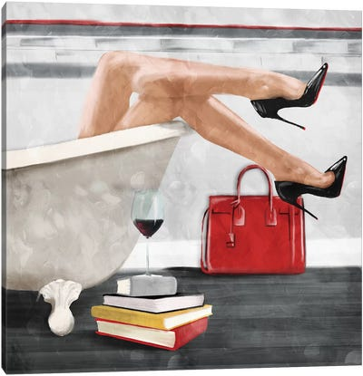 Wine And Bath Canvas Art Print