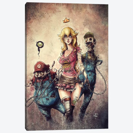 Princess Peach The Walking Dead Canvas Print #MVN1} by Marcelo Ventura Canvas Artwork