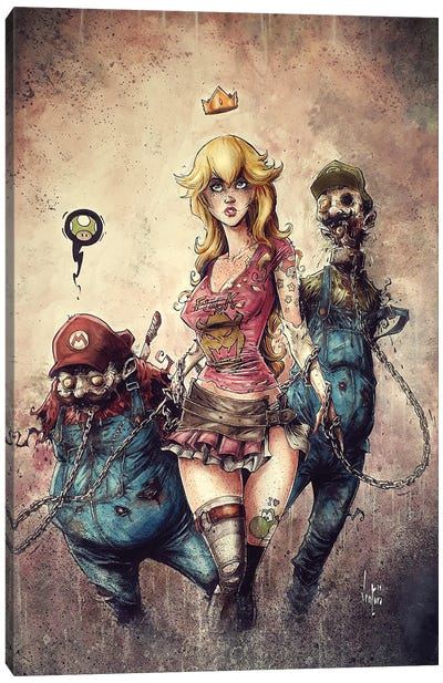Princess Peach The Walking Dead Canvas Art Print