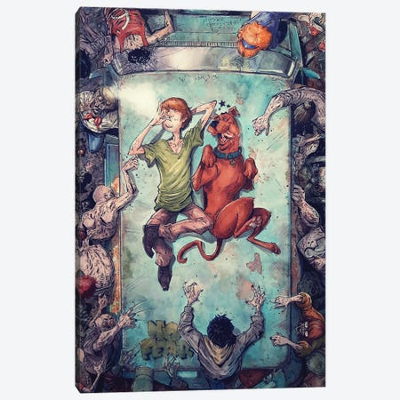 Shaggy and Scooby Good Vibes Canvas Print #MVN27} by Marcelo Ventura Canvas Wall Art