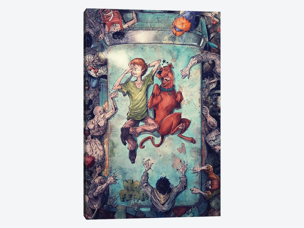 Shaggy and Scooby Good Vibes by Marcelo Ventura 1-piece Canvas Print