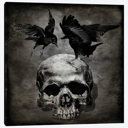 Skull With Crows Canvas Print #MWA16} by Martin Wagner Canvas Print