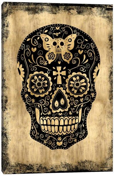 Day Of The Dead In Black & Gold Canvas Print #MWA3