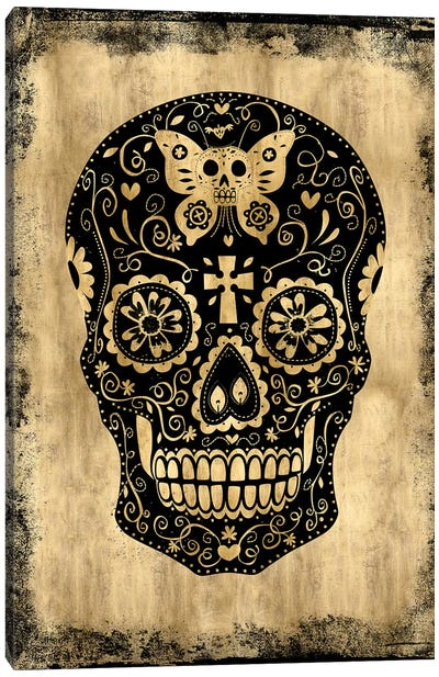 Day Of The Dead In Black & Gold Canvas Art Print