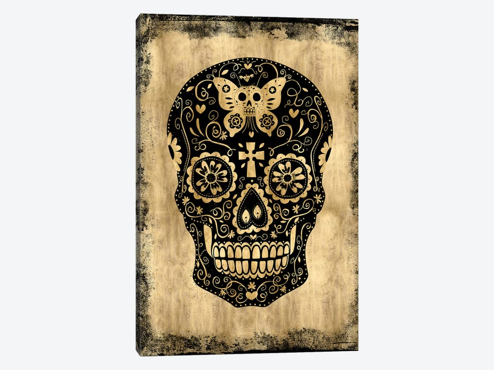 Day Of The Dead In Black & Gold by Martin Wagner 1-piece Canvas Artwork