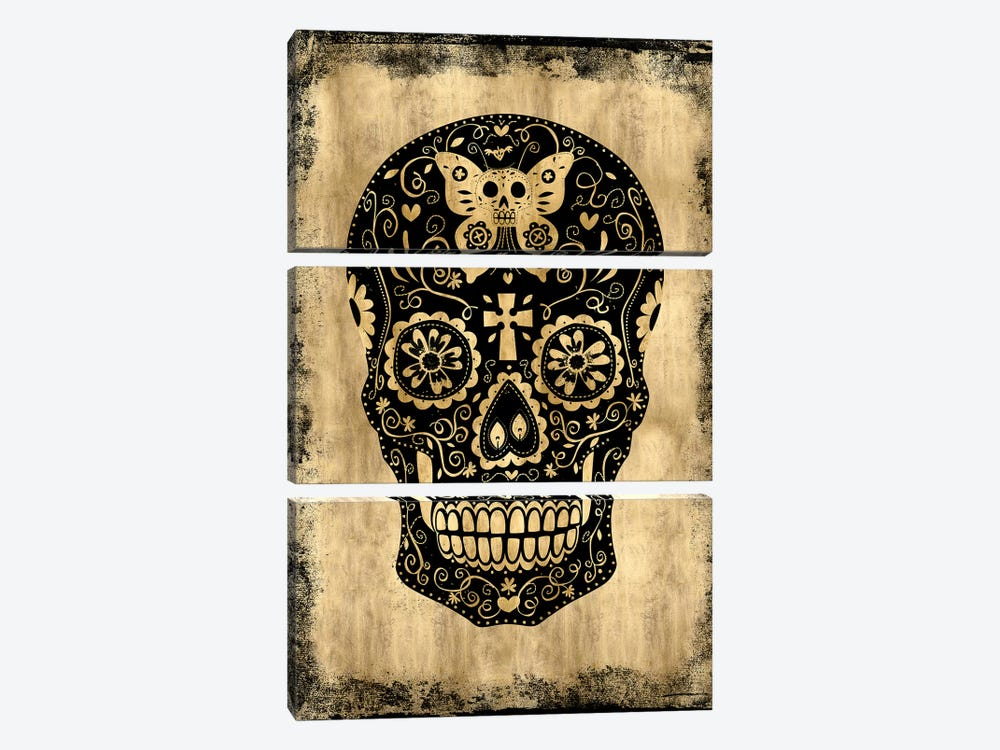 Day Of The Dead In Black & Gold by Martin Wagner 3-piece Canvas Art