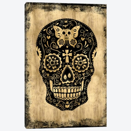 Day Of The Dead In Black & Gold Canvas Print #MWA3} by Martin Wagner Canvas Artwork