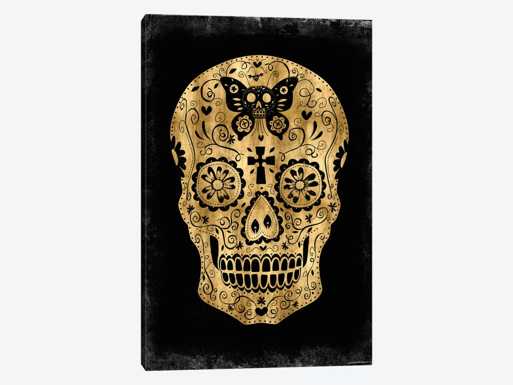 Day Of The Dead In Gold & Black by Martin Wagner 1-piece Canvas Art Print