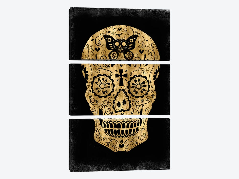 Day Of The Dead In Gold & Black by Martin Wagner 3-piece Canvas Print