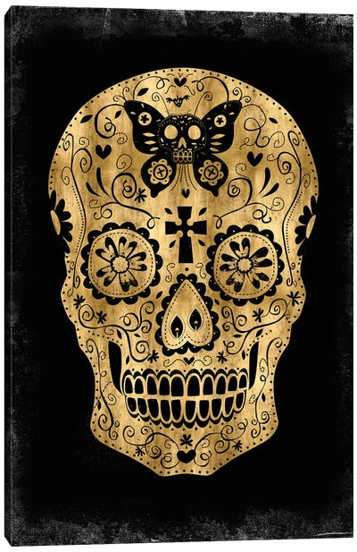 Day Of The Dead In Gold & Black Canvas Art Print