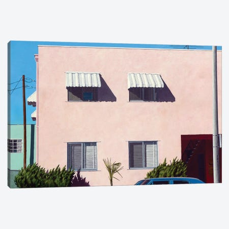 Pink Apartments Canvas Print #MWD1} by Michael Ward Art Print