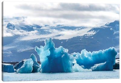 Iceland, Floating Glaciers Form Blue Ice Sculptures In Jokulsarlon, Glacier Lagoon. Canvas Art Print