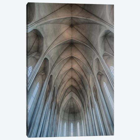 Iceland, Reykjavik, Ribbed Vaults In The Modern Cathedral Of Hallgrimskirkja. 3-Piece Canvas #MWI2} by Mark Williford Canvas Wall Art