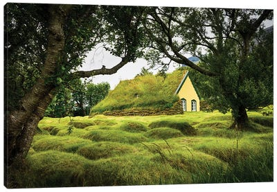 Iceland, Turf-Roofed Hof Church And Surrounding Grave Mounds. Canvas Art Print