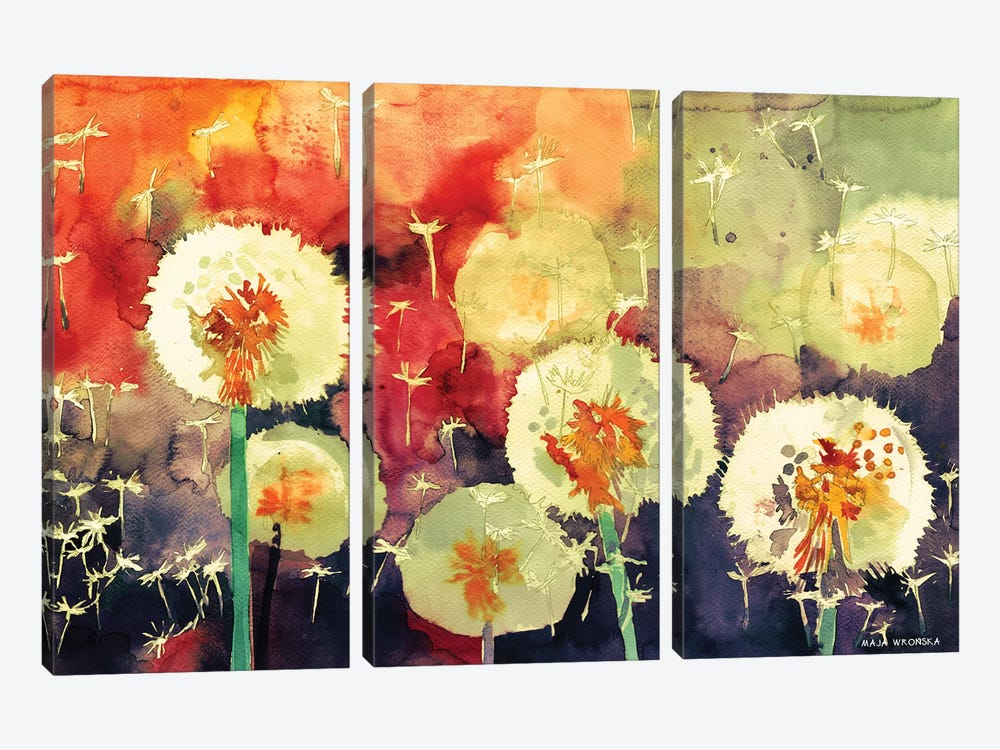 Dandelions by Maja Wronska 3-piece Canvas Wall Art