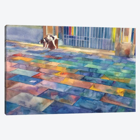 Dog And The City Canvas Print #MWR13} by Maja Wronska Canvas Print