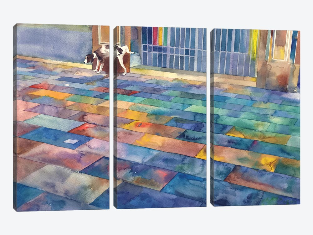 Dog And The City by Maja Wronska 3-piece Canvas Art Print
