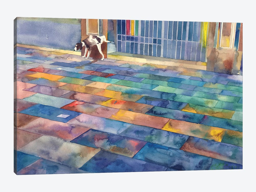 Dog And The City 1-piece Art Print