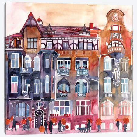 Apartment House In Poznań 3-Piece Canvas #MWR1} by Maja Wronska Canvas Art
