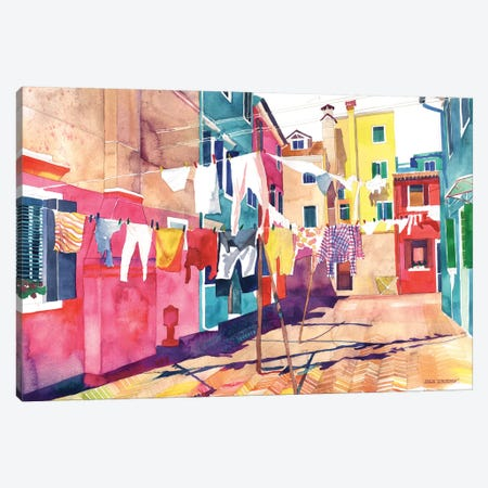 Laundry In Venice Canvas Print #MWR20} by Maja Wronska Canvas Art