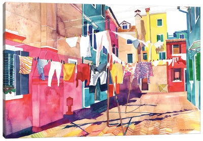 Laundry In Venice Canvas Art Print