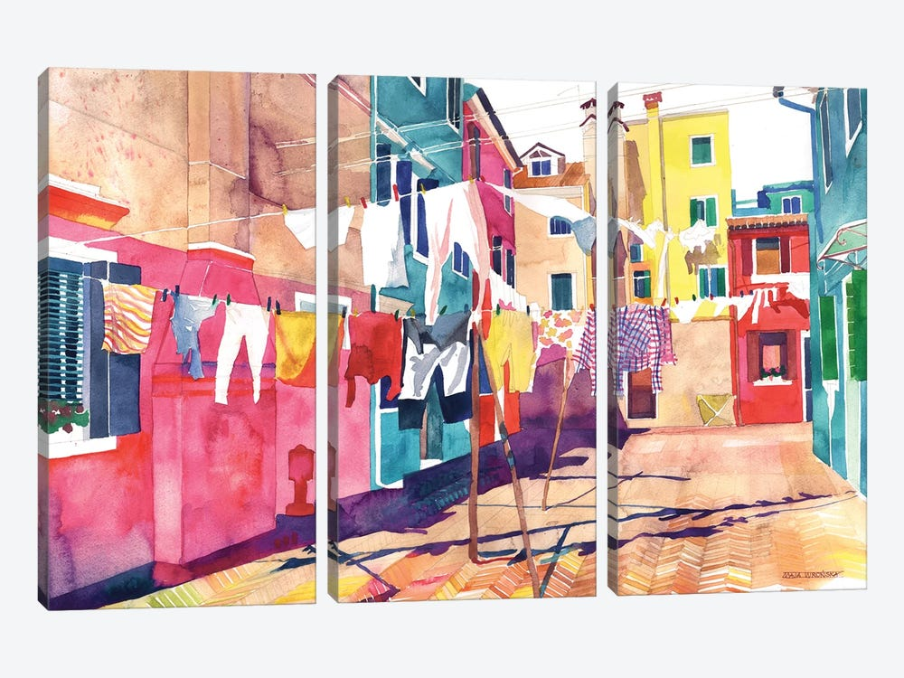Laundry In Venice by Maja Wronska 3-piece Canvas Art Print