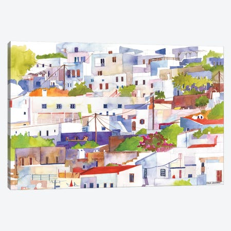 Lindos Canvas Print #MWR21} by Maja Wronska Canvas Artwork