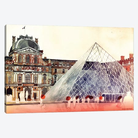 Louvre In September Canvas Print #MWR22} by Maja Wronska Canvas Wall Art