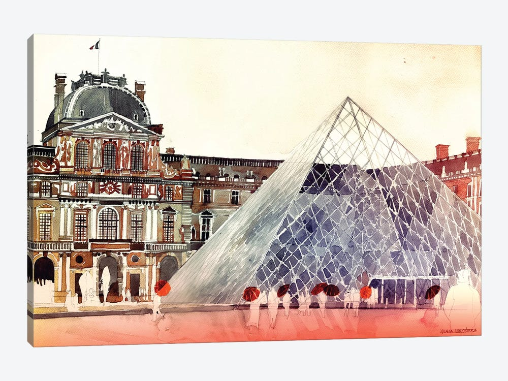 Louvre In September by Maja Wronska 1-piece Canvas Art Print