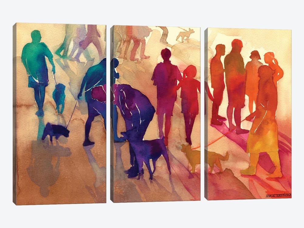 Man's Best Friends by Maja Wronska 3-piece Canvas Print