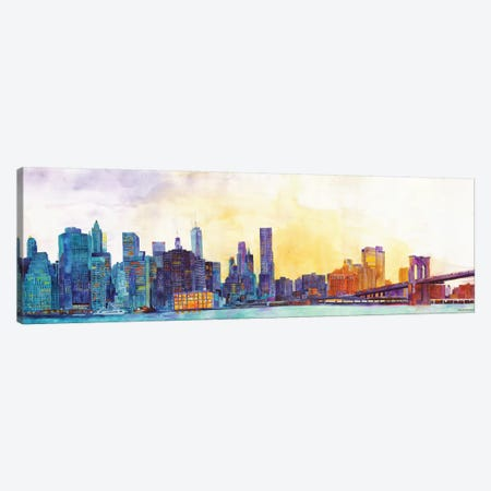 NYC Panorama Canvas Print #MWR29} by Maja Wronska Canvas Art