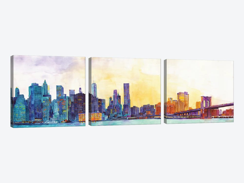 NYC Panorama 3-piece Canvas Art