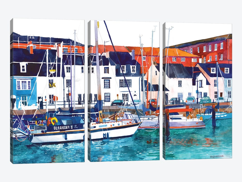 Port In Weymouth by Maja Wronska 3-piece Canvas Print