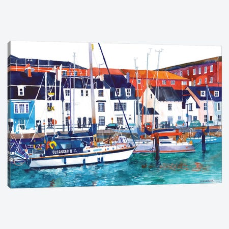 Port In Weymouth 3-Piece Canvas #MWR31} by Maja Wronska Canvas Art Print