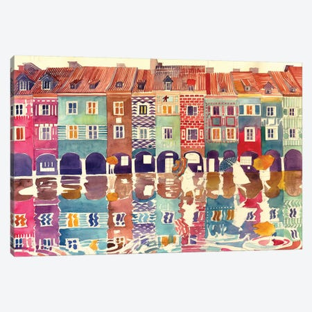 Rain In Poznań Canvas Print #MWR34} by Maja Wronska Canvas Art