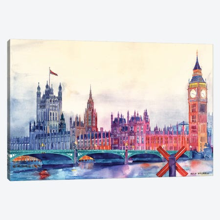 Sunset In London I Canvas Print #MWR40} by Maja Wronska Canvas Wall Art