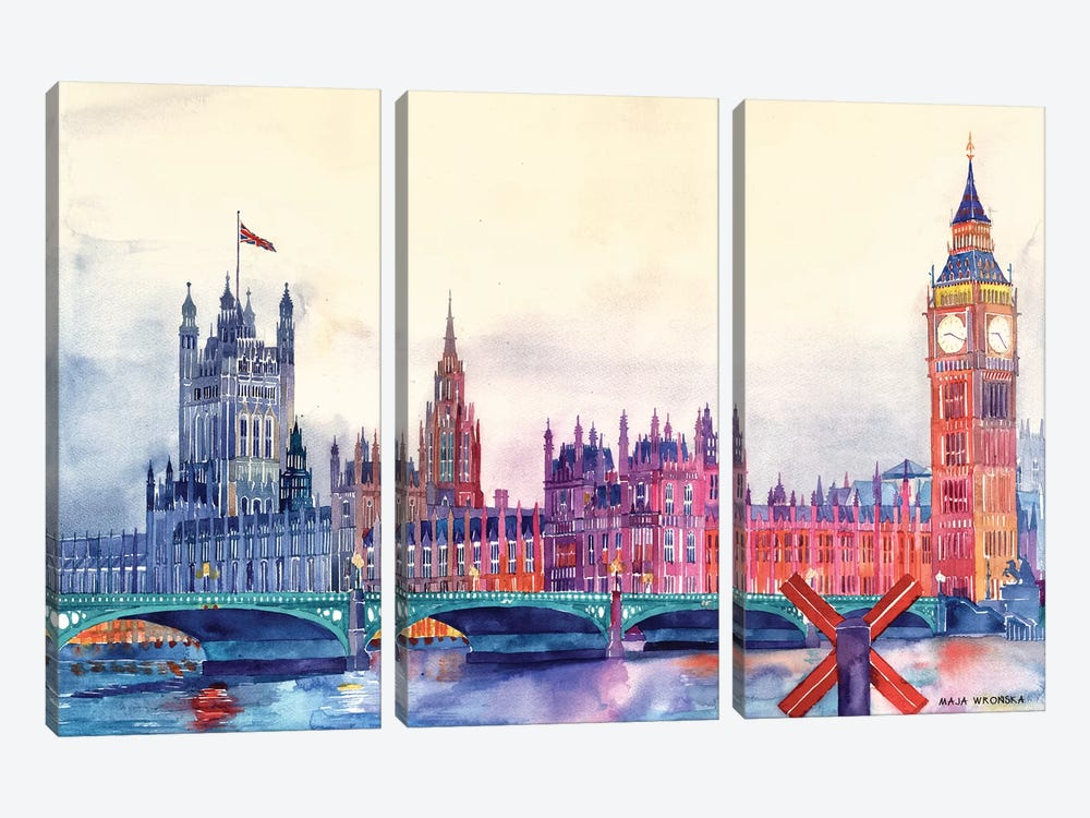Sunset In London I by Maja Wronska 3-piece Canvas Print