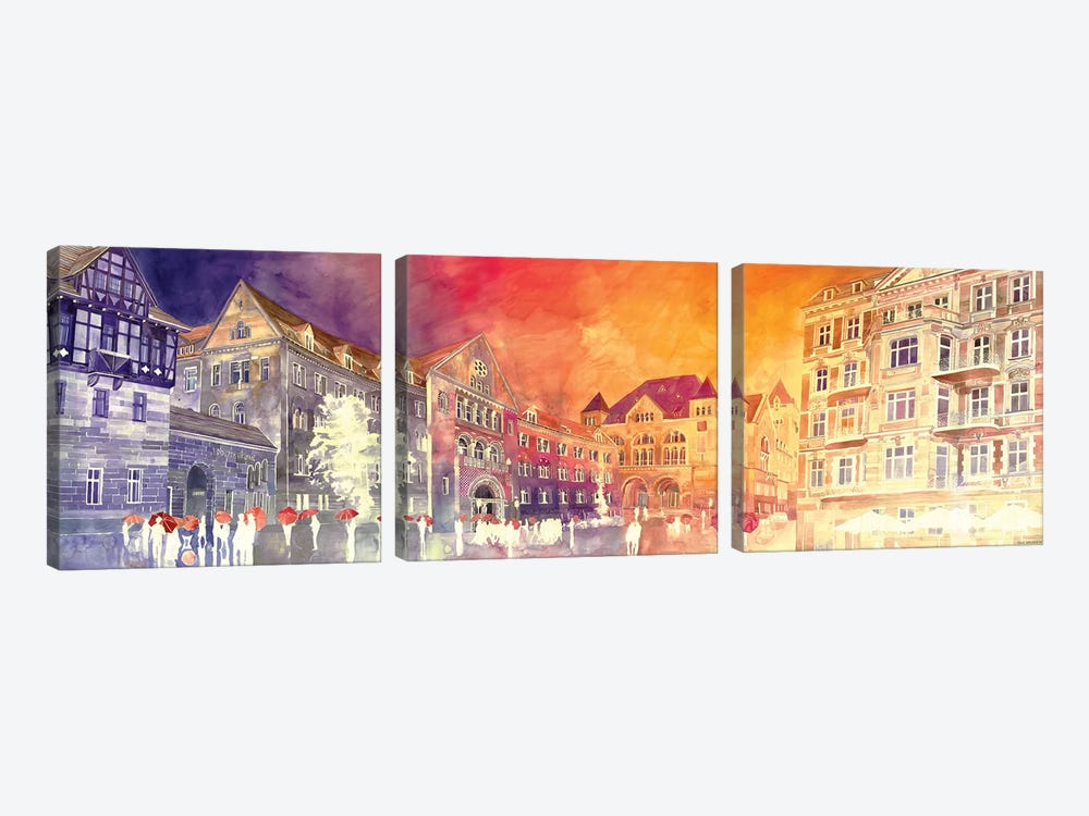 Sunset In Poznań by Maja Wronska 3-piece Art Print