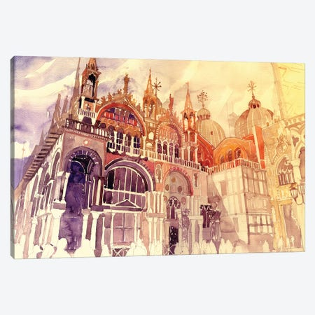Sunset In Venice Canvas Print #MWR43} by Maja Wronska Canvas Art