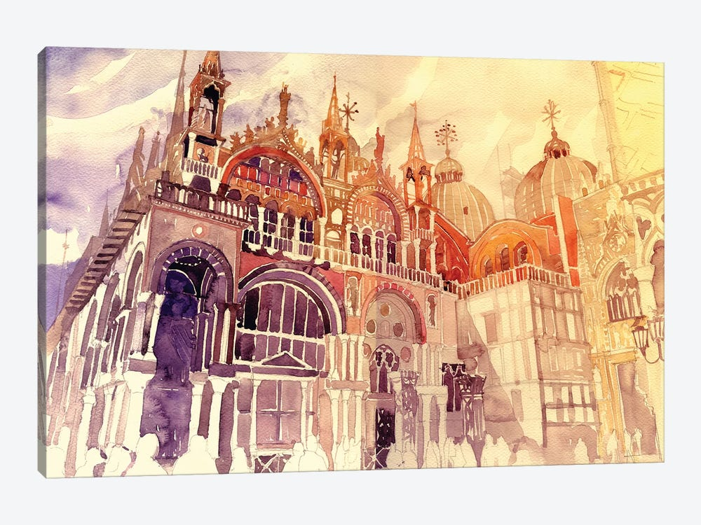 Sunset In Venice by Maja Wronska 1-piece Canvas Art
